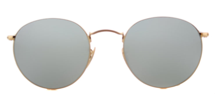 Ray-Ban RB 3447N 001/30 Round Metal Gold Sunglasses with Grey Flat Flash Lens