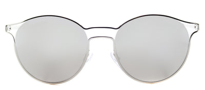 Prada PR 62SS 1BC2B0 Round Metal Silver Sunglasses with Silver Mirror Lens