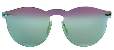 Illesteva IL LeoMask GM 10 Round Plastic Green Sunglasses with Green Mirror Lens