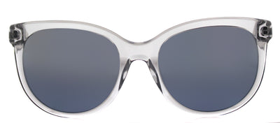 Puma PU 0041S 003 Round Plastic Clear Sunglasses with Silver Mirror Lens
