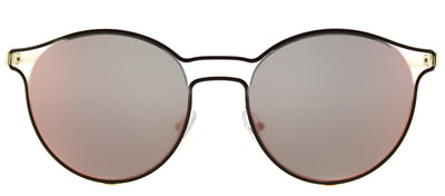 Prada PR 62SS USH5L2 Round Metal Burgundy/ Red Sunglasses with Yellow Rose Mirror Lens