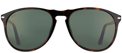 Persol PO 9649 24/31 Oval Plastic Brown Sunglasses with Green Lens