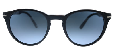 Persol PO 3152S 9014Q8 Round Plastic Black Sunglasses with Blue Gradient Lens