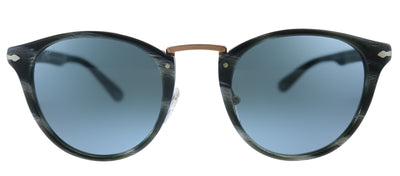 Persol PO 3108S 111456 Round Plastic Black Sunglasses with Blue Lens