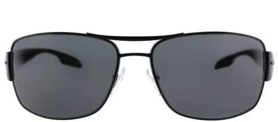 Prada Linea Rossa PS 53NS 1BO5Z1 Rectangle Metal Black Sunglasses with Grey Polarized Lens