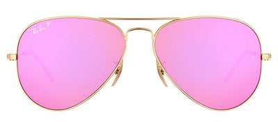 Ray-Ban RB 3025 112/1Q Aviator Metal Gold Sunglasses with Fucsia Mirror Polarized Lens