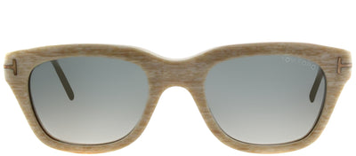 Tom Ford TF 237 60B Rectangle Plastic Beige Sunglasses with Grey Gradient Lens