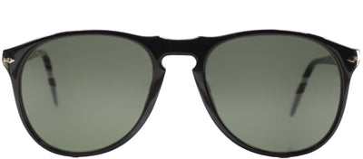 Persol PO 9649 95/31 Oval Plastic Black Sunglasses with Green Lens