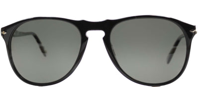 Persol PO 9649 95/58 Oval Plastic Black Sunglasses with Green Polarized Lens