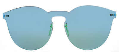 Illesteva IL Leo2Mask LM2-1 Round Plastic Green Sunglasses with Green Mirror Lens