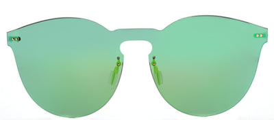 Illesteva IL Leo2Mask LM2-20 Round Plastic Green Sunglasses with Emerald Mirror Lens