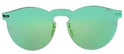 Illesteva IL LeoMask LM20 Round Plastic Green Sunglasses with Emerald Mirror Lens
