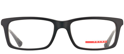 Prada Linea Rossa PS 02CV 1BO1O1 Rectangle Metal Black Eyeglasses with Demo Lens