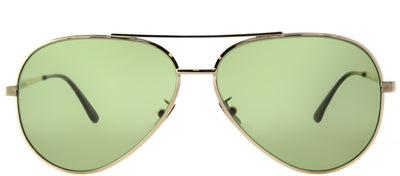 Saint Laurent SL Classic11 Zero 002 Aviator Metal Gold Sunglasses with Green Crystal Flat Lens