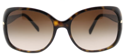 Prada PR 08OS 2AU6S1 Rectangle Plastic Tortoise/ Havana Sunglasses with Brown Gradient Lens