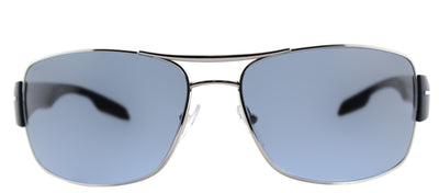 Prada Linea Rossa PS 53NS 1BC5I1 Aviator Metal Silver Sunglasses with Blue Gradient Lens