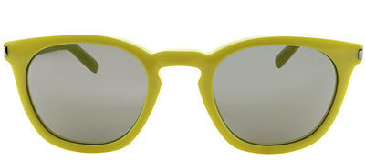 Saint Laurent Classic SL 28 BHC Square Plastic Yellow Sunglasses with Silver Mirror Lens