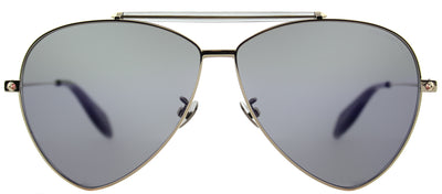 Alexander McQueen AM 0058S 004 Aviator Metal Gold Sunglasses with Blue Flat Mirror Lens