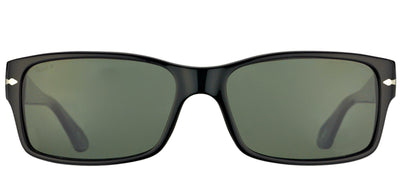 Persol PO 2803S 95/58 Rectangle Plastic Black Sunglasses with Green Polarized Lens