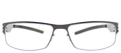 Ic! Berlin IC SergeK Gunmetal Rectangle Metal Eyeglasses with Demo Lens