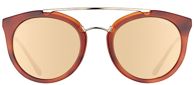 Prada PR 23SS USE1C0 Round Plastic Brown Sunglasses with Gold Mirror Lens