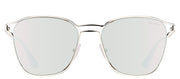 Prada PR 54TS 1BC2B0 Square Metal Silver Sunglasses with Silver Mirror Lens