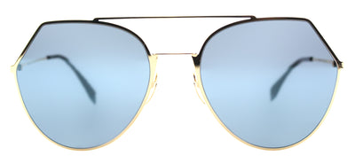 Fendi FF 0194 000 2A Aviator Metal Gold Sunglasses with Blue Mirror Lens