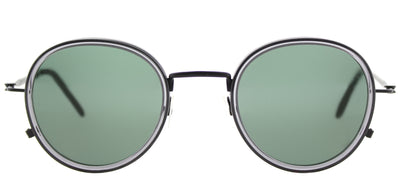 Tomas Maier TM 0010S 001 Round Plastic Black Sunglasses with Green Lens