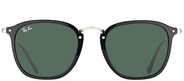 Ray-Ban RB 2448N 901 Square Plastic Black Sunglasses with Green Lens