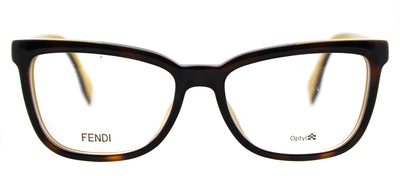 Fendi FF 0122 MFR Rectangle Plastic Tortoise/ Havana Eyeglasses with Demo Lens with Logo Print