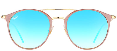 Ray-Ban RB 3546 90118B Round Metal Beige Sunglasses with Blue Flash Mirror Gradient Lens