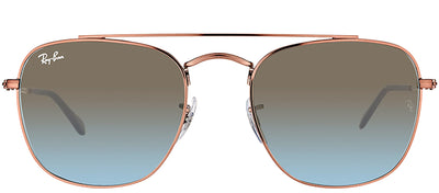 Ray-Ban RB 3557 900396 Square Metal Bronze Sunglasses with Blue Gradient Lens