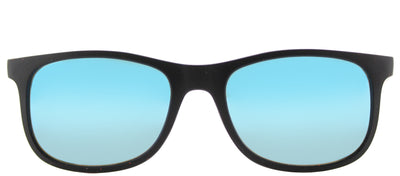 Ray-Ban Junior RJ 9062 701355 Square Plastic Black Sunglasses with Blue Flash Mirror Lens