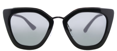 Prada PR 53SS 1AB6N2 Cat-Eye Plastic Black Sunglasses with Silver Mirrored Gradient Lens