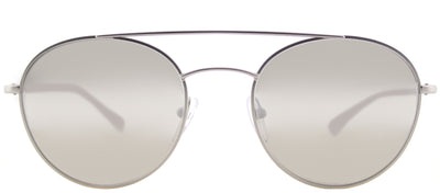 Prada Linea Rossa PS 51SS 1AP2B0 Round Metal Silver Sunglasses with Silver Mirror Lens