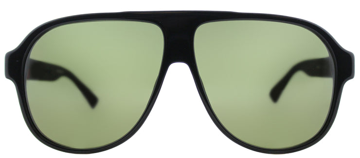 Gucci GG 0009S 001 Aviator Plastic Black Sunglasses with Green Lens