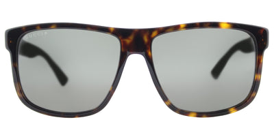 Gucci GG 0010S 003 Rectangle Plastic Tortoise/ Havana Sunglasses with Dark Grey Polarized Lens