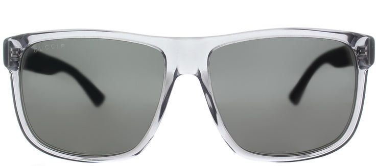 Gucci GG 0010S 004 Rectangle Plastic Grey Sunglasses with Grey Polarized Lens