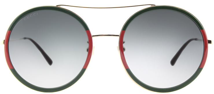 Gucci GG 0061S 003 Round Metal Green Sunglasses with Grey Gradient Lens