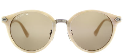 Gucci GG 0066S 002 Round Plastic Ivory/ White Sunglasses with Brown Lens