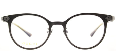Gucci GG 0068O 002 Round Titanium Brown Eyeglasses with Demo Lens
