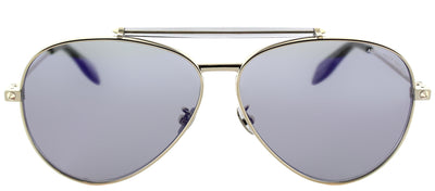 Alexander McQueen AM 0057S 004 Aviator Metal Gold Sunglasses with Blue Mirror Lens