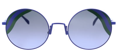 Fendi FF 0248 PJP Round Metal Blue Sunglasses with Blue Green Striped Lens