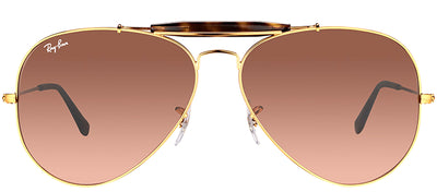 Ray-Ban RB 3029 9001A5 Aviator Metal Bronze Sunglasses with Pink Gradient Brown Lens