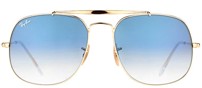Ray-Ban RB 3561 001/3F Aviator Metal Gold Sunglasses with Blue Gradient Lens