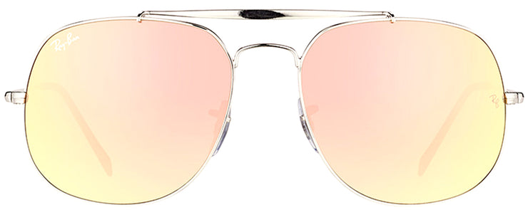 Ray-Ban RB 3561 003/7O Aviator Metal Silver Sunglasses with Pink Mirrored, Gradient Lens
