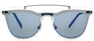 Valentino VA 4008 502455 Cat-Eye Plastic Clear Sunglasses with Blue Mirror Lens