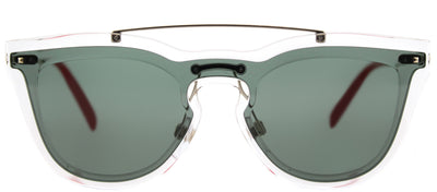 Valentino VA 4008 502471 Cat-Eye Plastic Clear Sunglasses with Smoke Green Lens