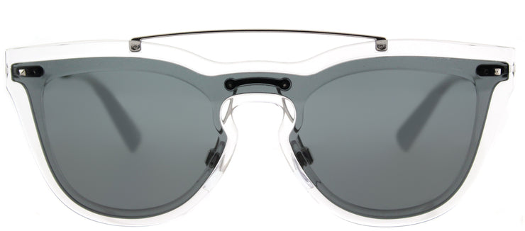 Valentino VA 4008 502487 Cat-Eye Plastic Clear Sunglasses with Smoke Lens