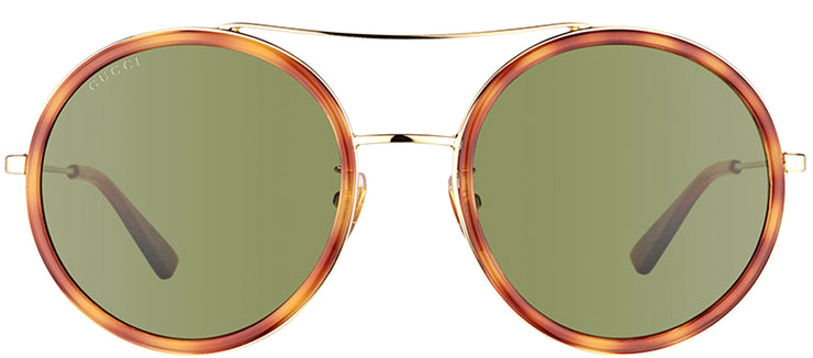 Gucci GG 0061S 002 Round Metal Tortoise/ Havana Sunglasses with Green Lens